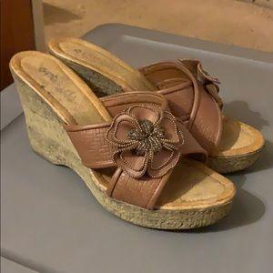 Brown Platform Heels with Beaded Flowers